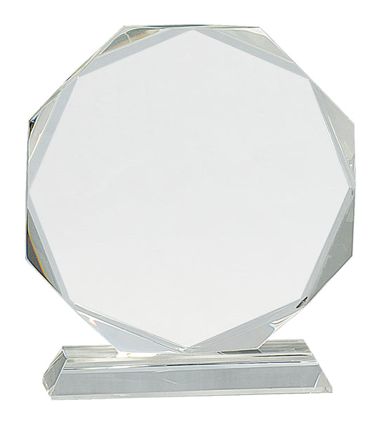 Crystal Octagon on Clear Pedestal Base