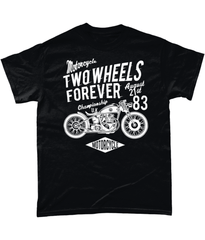 Two Wheels Forever White – Gildan Heavy Cotton T-Shirt