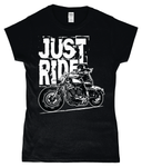 Biker Girl White – SoftStyle® Ladies Fitted Ringspun T-Shirt - Biker T-Shirts UK