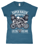 Super Racer – Gildan SoftStyle® Ladies Fitted Ringspun T-Shirt - Biker T-Shirts UK