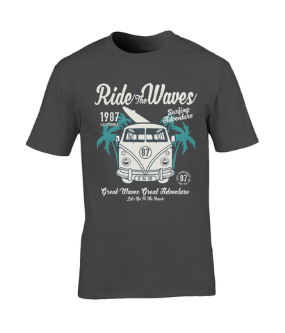 Ride The Waves – Gildan Premium Cotton T-Shirt - Biker T-Shirts UK
