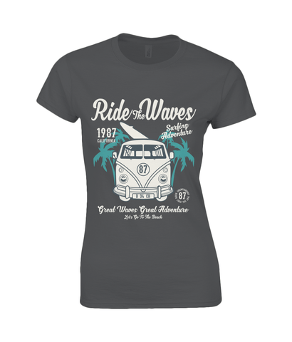 Ride The Waves – Gildan Ladies Premium Cotton T-Shirt - Biker T-Shirts UK