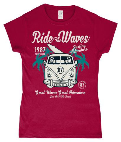 Ride The Waves – Gildan SoftStyle® Ladies Fitted Ringspun T-Shirt - Biker T-Shirts UK