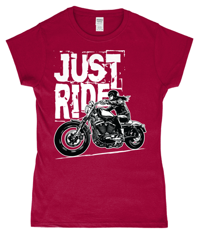 Biker Girl White – SoftStyle® Ladies Fitted Ringspun T-Shirt