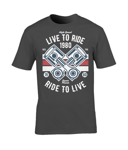 Live To Ride 1980 – Gildan Premium Cotton T-Shirt - Biker T-Shirts UK
