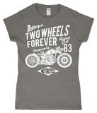 Two Wheels Forever White – Gildan SoftStyle® Ladies Fitted Ringspun T-Shirt - Biker T-Shirts UK