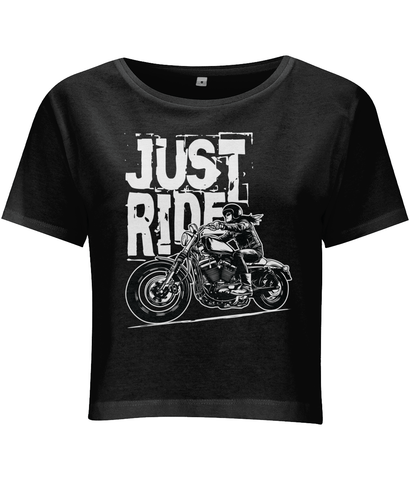 Biker Girl White – Women's Cropped Jersey T-shirt - Biker T-Shirts UK