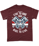 Live To Ride 1980 – Gildan Heavy Cotton T-Shirt - Biker T-Shirts UK