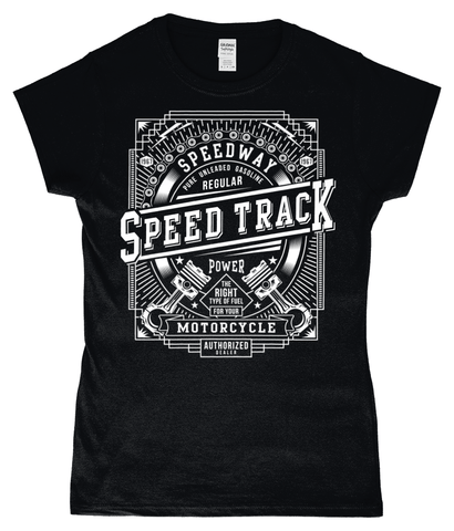 Speed Track – Gildan SoftStyle® Ladies Fitted Ringspun T-Shirt - Biker T-Shirts UK