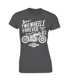 Two Wheels Forever White – Gildan Ladies Premium Cotton T-Shirt - Biker T-Shirts UK