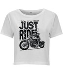 Biker Girl Black – Women's Cropped Jersey T-shirt - Biker T-Shirts UK