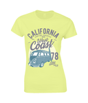 California West Coast v2 – Gildan Ladies Premium Cotton T-Shirt - Biker T-Shirts UK