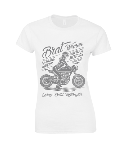 Brat Women Grey – Gildan Ladies Premium Cotton T-Shirt - Biker T-Shirts UK