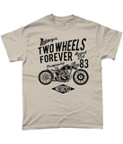 Two Wheels Forever Black – Gildan Heavy Cotton T-Shirt - Biker T-Shirts UK