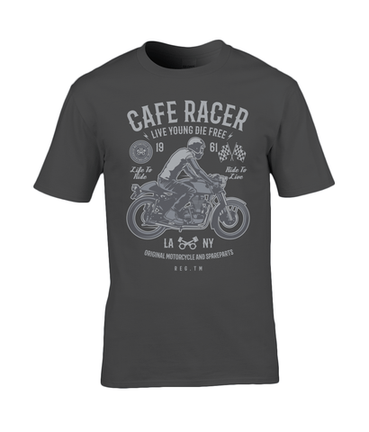 Cafe Racer v3 – Gildan Premium Cotton T-Shirt - Biker T-Shirts UK