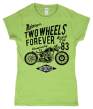 Two Wheels Forever Black – Gildan SoftStyle® Ladies Fitted Ringspun T-Shirt - Biker T-Shirts UK