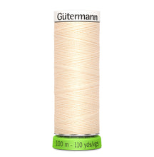 Load image into Gallery viewer, 100 m Reel Gütermann Recycled Sew-All Thread in Cream, no. 414