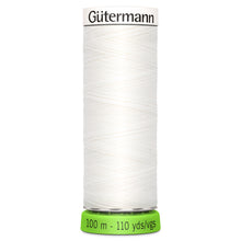Load image into Gallery viewer, 100 m Reel Gütermann Recycled Sew-All Thread in White, No. 800