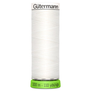 100 m Reel Gütermann Recycled Sew-All Thread in White, No. 800