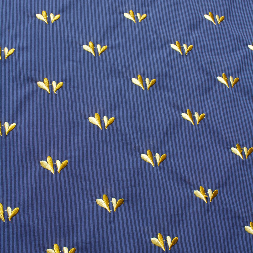 Cotton Lawn with Blue Stripes and Embroidered Yellow Hearts