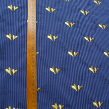 Load image into Gallery viewer, Cotton Lawn with Blue Stripes and Embroidered Yellow Hearts