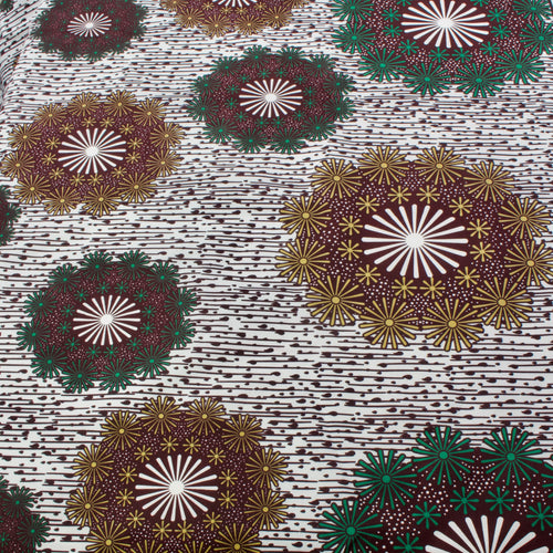 African Wax Cotton Mix Fabric with Large Floral Print