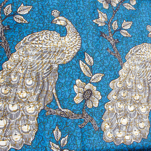 African Wax Cotton Mix Fabric With Peacock and Rose Design in Blue and White