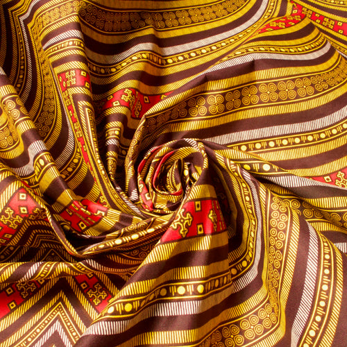 African Wax Cotton Mix Fabric with Woodblock Print in Warm Colours