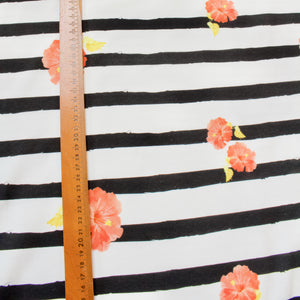 Cotton Jersey with Cow Panel Print and Black and White Stripes