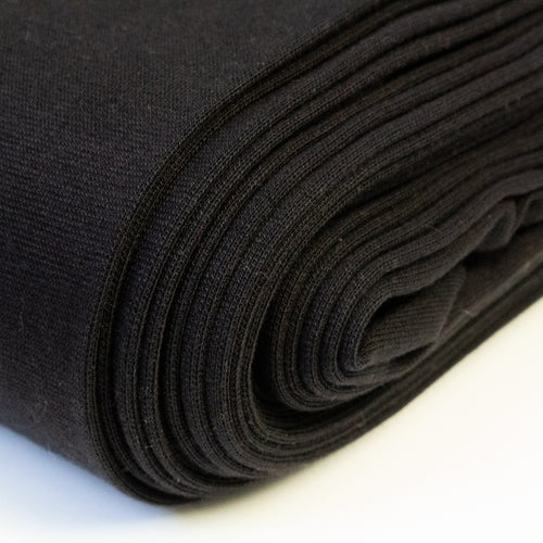 Cotton Jersey Tubular Ribbing in Black