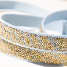 Load image into Gallery viewer, 12 mm Elastic in Metallic Gold and Light Blue