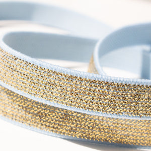 12 mm Elastic in Metallic Gold and Light Blue