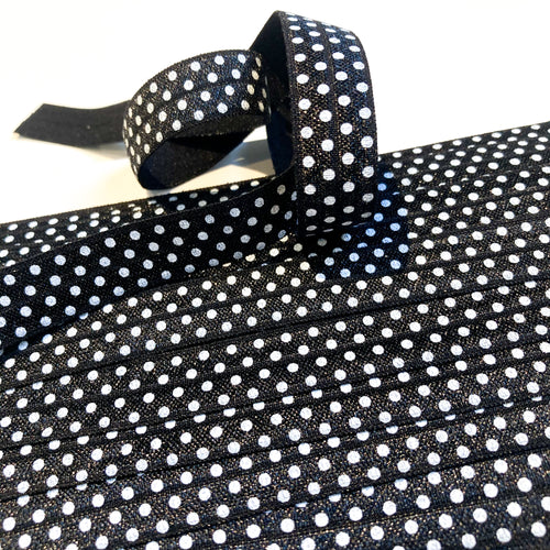 16 mm Foldover Elastic in Black with White Polka Dots
