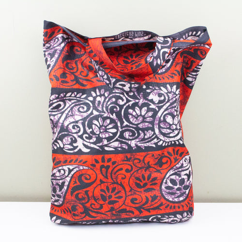 African Wax Shopper Bag - Short Handled Style