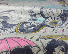 Load image into Gallery viewer, Organic Cotton Jersey PU Laminate Fabric with Rainy Day Print on Grey