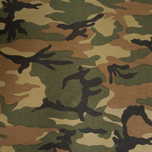 Cotton Single Jersey with Camouflage Print in Khaki and Brown