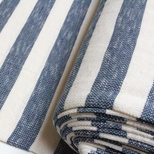 Cotton Loopback Knit Fabric with Wide Stripes in Blue and Cream