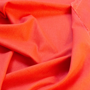 Linen-Viscose Mix Chambray in Tomato Red