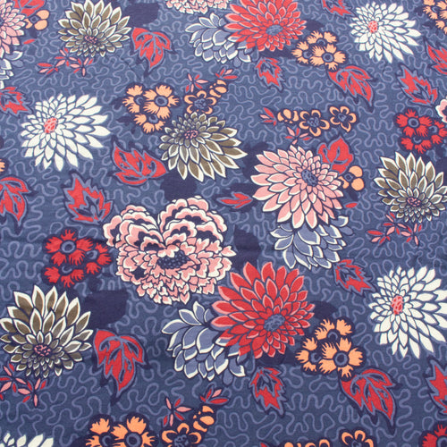 85 cm Piece Liberty Cotton Jersey 'Meandering Chrysanthemums'