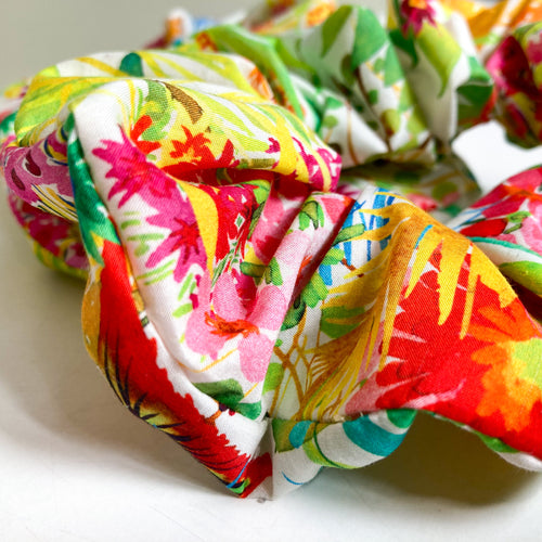 Large Neon Floral Scrap Scrunchie made with Liberty Fabric