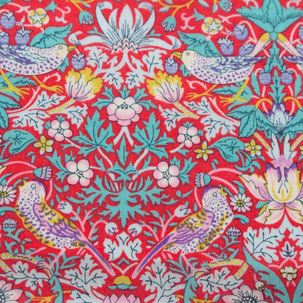 Liberty Tana Lawn 'Strawberry Thief' in Red