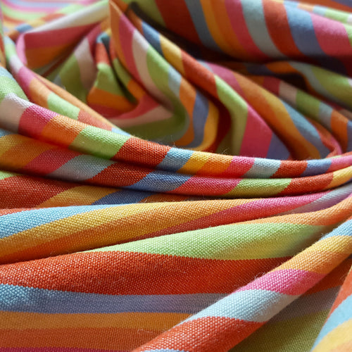 Organic Cotton and Bamboo Handwoven Fabric with Rainbow Stripes