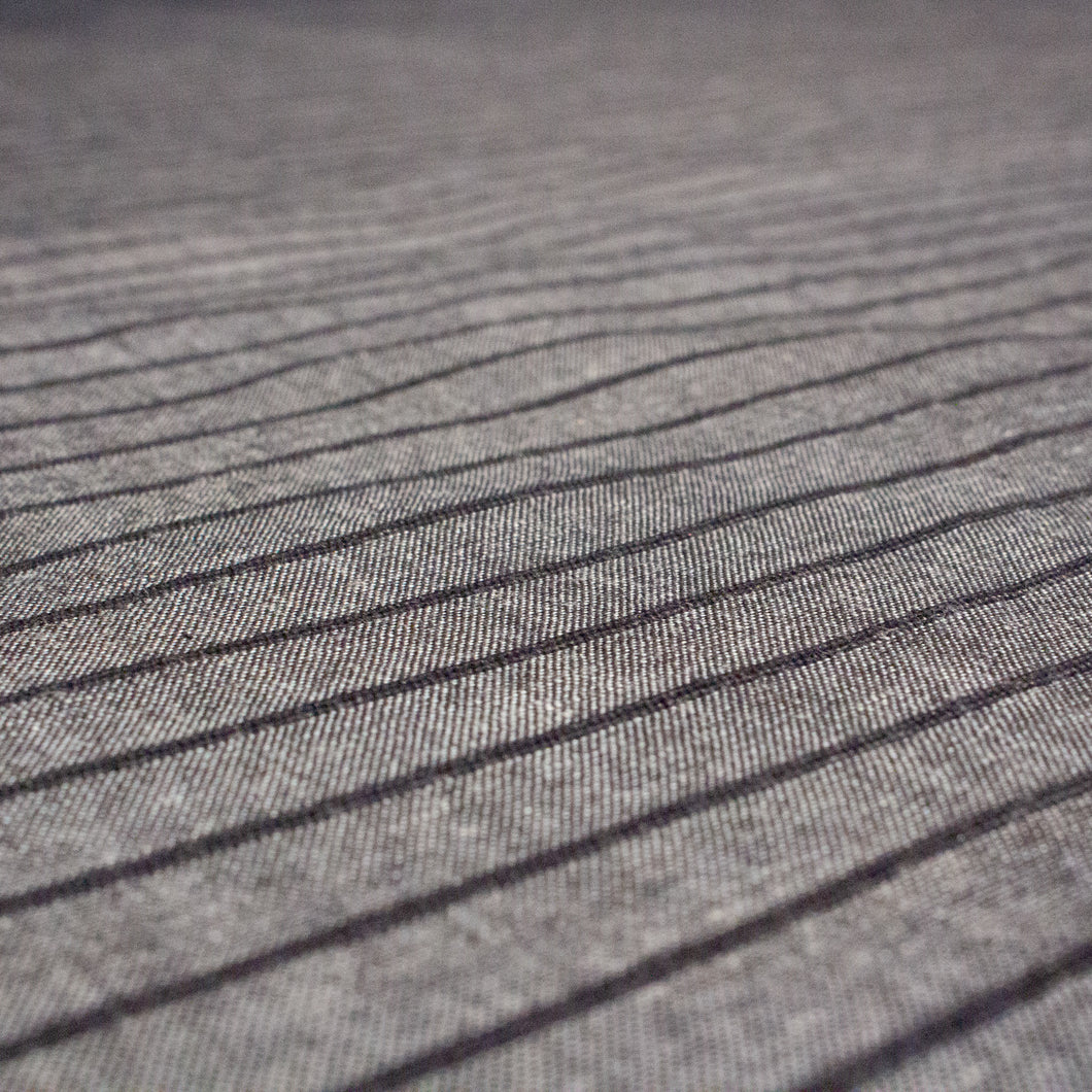 Organic Cotton Handwoven Crossweave Fabric in Grey with Raised Black Stripes