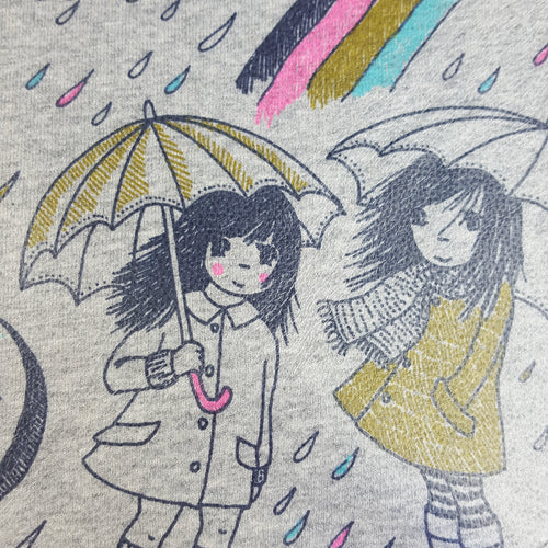 Organic Cotton Jersey PU Laminate Fabric with Rainy Day Print on Grey