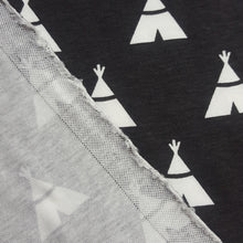 Load image into Gallery viewer, Organic Cotton Single Jersey in Charcoal with Teepee Print
