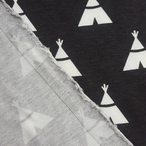 Organic Cotton Single Jersey in Charcoal with Teepee Print