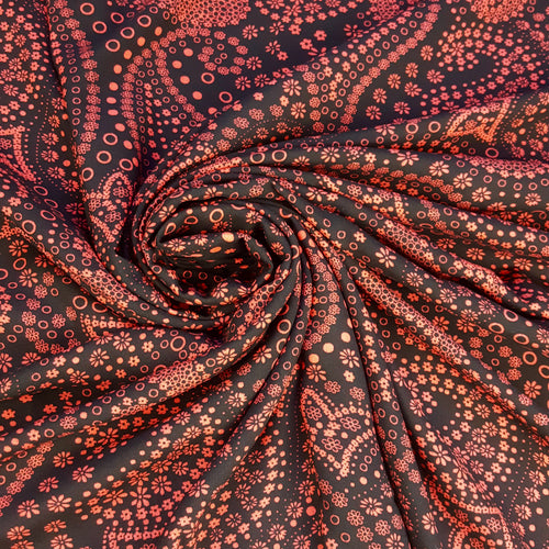 1 m Piece Red and Black Paisley Viscose Fabric