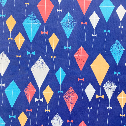 Softshell Fabric with Kite Print on Blue