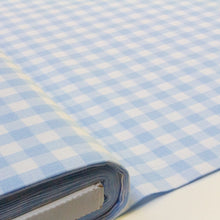 Load image into Gallery viewer, Cotton Gingham in Light Blue and White 1 cm Check