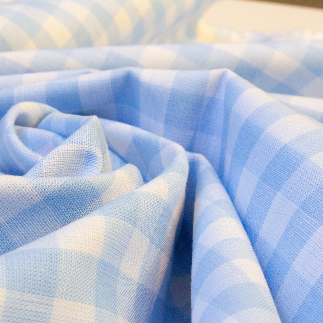 Cotton Gingham in Light Blue and White 1 cm Check